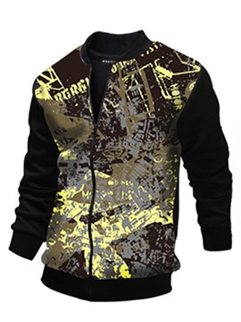 Ericdress 3D Print Patched Vogue Men's Jacket
