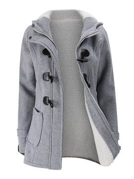 Ericdress Plain Horn Button Mid-Length Hooded Coat