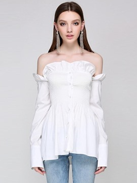 Ericdress Slash Neck Ruffles Pleated Blouse