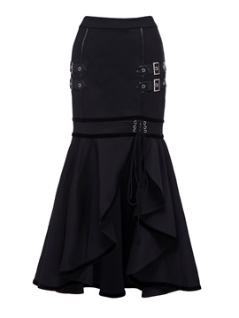Ericdress Black Lace-Up Mermaid Knee-Length Women's Skirt