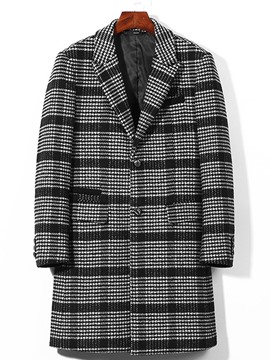 Ericdress Lapel Pocket Plaid Slim Men's Woolen Coat