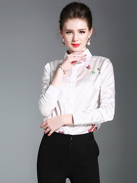 Ericdress Lapel Print Single-Breasted Blouse