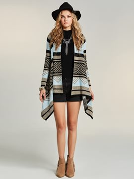 Ericdress Geometric Stripe Cardigan Knitwear