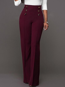 Ericdress High-Waist Button Bellbottoms Pants