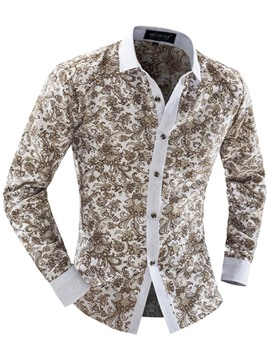 Ericdress Vogue Print Slim Men's Shirt