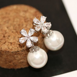 Ericdress Shining S925 Silver Flower Zircon All Match Earring