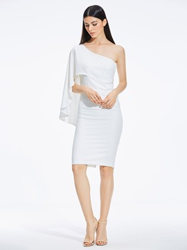 Ericdress Asymmetric Oblique Collar Knee-Length Plain Bodycon Dress