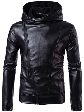 Ericdress Hood Oblique Zip PU Vogue Casual Men's Jacket