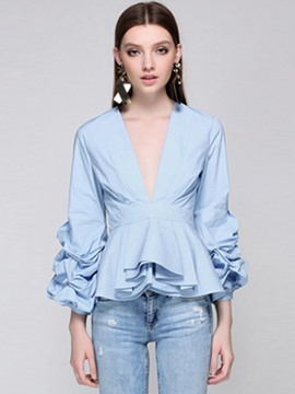Ericdress V-Neck Ruffles Lantern Sleeve Blouse