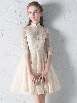Ericdress A Line High Neck Half Sleeve Lace Homecoming Dress