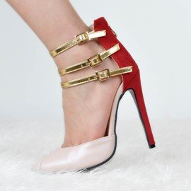 Ericdress Pointed Toe Color Block Stiletto Heel Pumps with Buckle