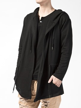 Ericdress Hip-Hop Pullover Solid Color Loose Men's Hoodie