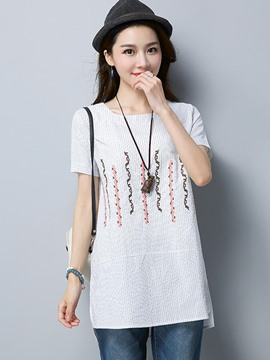Ericdress Stripe Embroidery Mid-Length T-shirt