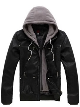Ericdress Hooded Detachable Slim Men's Biker PU Faux Leather Jacket