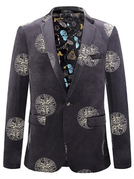 Ericdress One Button Pocket Print Men's Blazer