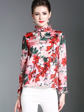 Ericdress High Neck Print Floral Flare Sleeve Blouse