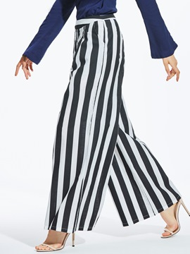 Ericdress Striped Wide Leg Women's Pants