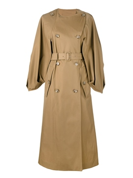 Ericdress Batwing Sleeve Belt Double-Breasted Trench Coat