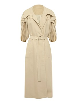 Ericdress Patchwork Belt Half Sleeve Trench Coat