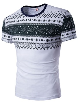 Ericdress Round Neck Vintage Printed Slim Men's Vogue T-Shirt