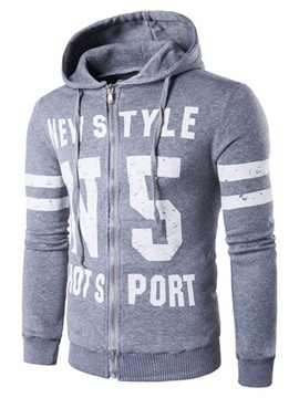 Ericdress Zip Letter Print Vogue Slim Men's Hoodie