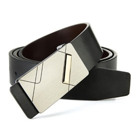 Ericdress All Match Smooth Buckle Geninue Leather Men's Belt