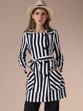 Ericdress Stripe Single-Breasted Lace-Up Trench Coat