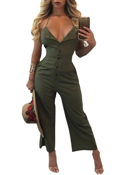 Ericdress Backless Lace-Up Bellbottoms Jumpsuits Pants