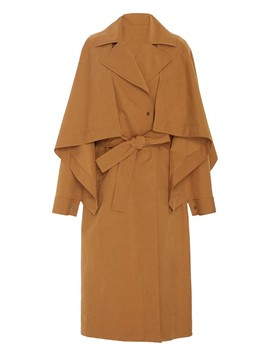 Ericdress Patchwork Long Lace-Up Trench Coat