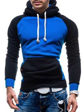 Ericdress Patchwork Color Block Slim Fit Men's Hoodie with Pocket