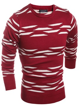 Ericdress Patchwork Printed Cotton Slim Men's Casual Sweater