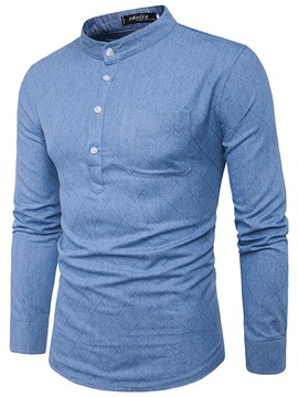 Ericdress Plain Half Button Stand Collar Denim Casual Men's Shirt