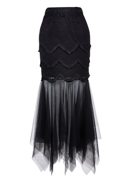 Ericdress Black Mermaid Tulle Mid-Calf Women's Skirt