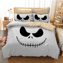3D Jack Face Printed Polyester 3-Piece White Halloween Bedding Sets/Duvet Covers