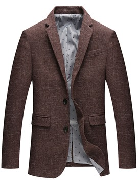 Ericdress Plain Single-Breasted Plaid Slim Men's Blazer