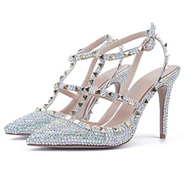 Ericdress Rhinestone Stiletto Heel Strappy Wedding Shoes