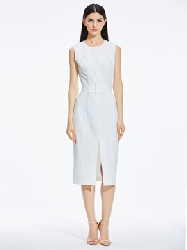 Ericdress Sleeveless Mid-Calf Belt High Waist Zipper Dress