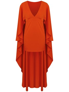 Ericdress V-Neck Batwing Sleeves Floor-Length Bodycon Dress