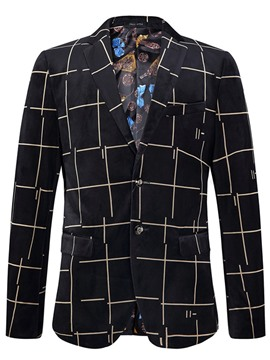 Ericdress Single-Breasted Pocket Plaid Men's Blazer