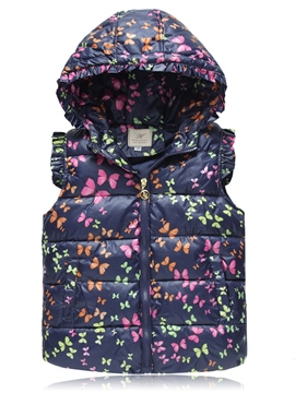 Ericdress Lovely Butterfly Hooded Cotton Warm Girls Waistcoat