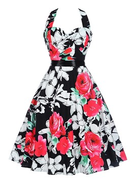 Ericdress Floral Halter Sleeveless A Line Dress
