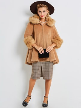 Ericdress Fur Collar Mid-Length Cape Coat
