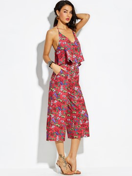 Ericdress Loose Flower Print Wide Legs Women's Jumpsuit