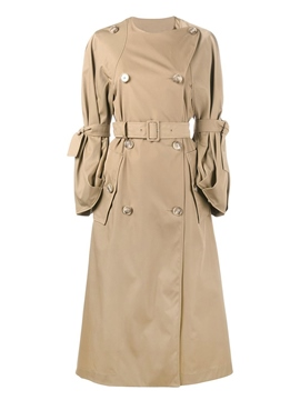 Ericdress Belt Double-Breasted Plain Trench Coat