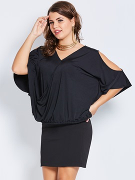 Ericdress Plus-Size V-Neck Hollow Batwing Sleeve T-shirt
