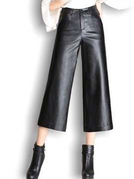 Ericdress high-waist pocket pu pants