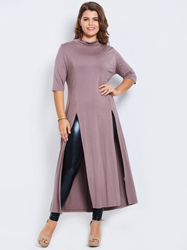 Ericdress Mid-Length Stand Collar Slim T-shirt