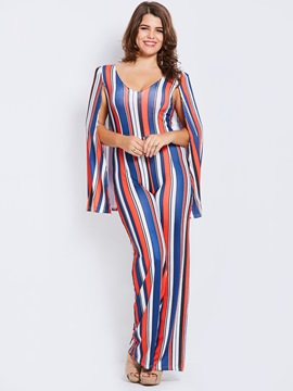 Ericdress Plus Size Stripe Wide Leg Jumpsuit