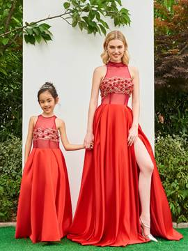 Ericdress A Line Halter Sequin Beaded Long Parent-Child Evening Dress With Slit
