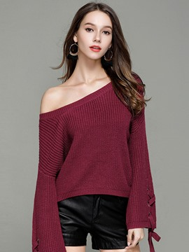 Ericdress Plain Round Neck Flare Sleeve Knitwear